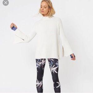 Sweaty Betty / rye cream knit bell sleeve jumper
